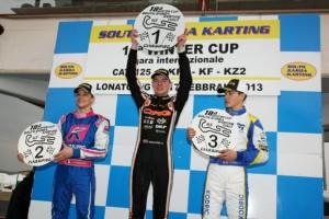 Max Verstappen atop the KF2 podium