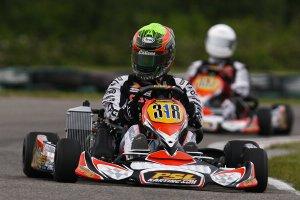 After seven months out of a kart, Pier-Luc Ouellette returned to his winning ways, taking the Rotax Senior win at SRA (Photo: PSLKarting.com)