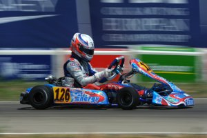 Parker Thompson left Alcaniz, Spain with a fourth place result in the opening round in the CIK FIA European Championship (Photo: KSP.fr)