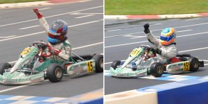 Michael (Right) and Nicholas (Left) celebrate their victories in both Rotax Mini Max and Micro Max at the GoPro Summer Shootout (Photo: dOrlandoRacing.com)