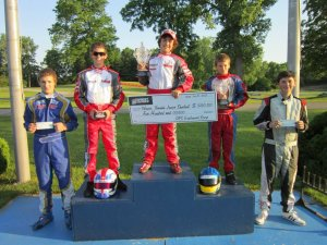 Birel podium sweep, Junior Shootout. Quinlan, McAndrews, Reardon
